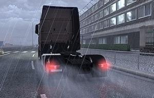 truck in rain